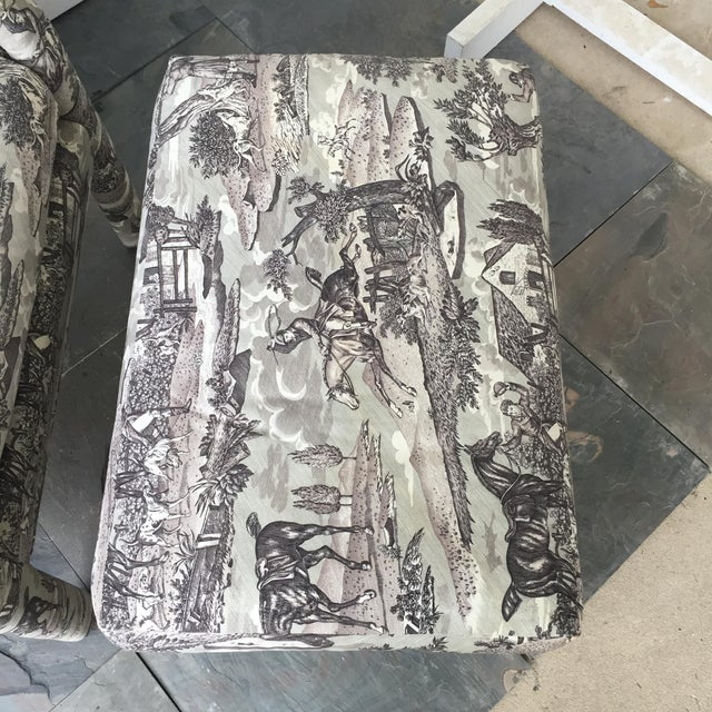 Vintage Toile Upholstered Chairs & Ottomans - A Pair - Image 5 of 6