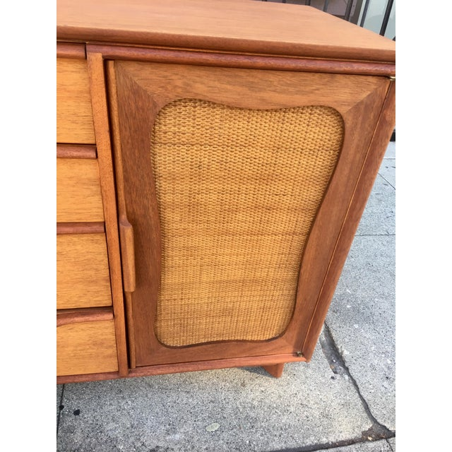 1950s Mid-Century Sculptural Credenza with Cane Details For Sale - Image 5 of 10