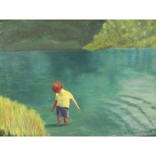 1970s Vintage Oil Painting of Boy Standing in a Pond Signed Preview