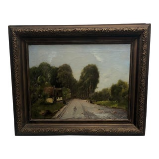 Antique Horse Drawn Carriage Landscape Painting For Sale