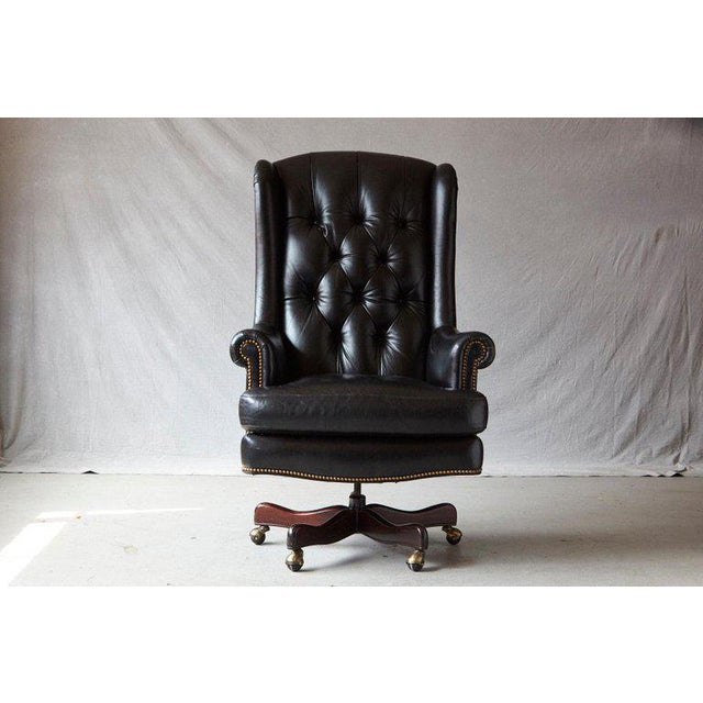 Black Tufted Black Leather Swivel -Tilt Executive Chair by Hancock & Moore For Sale - Image 8 of 12