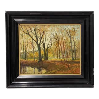 Late 19th Century Lumious Forest Landscape Oil Painting by Hm Savry For Sale