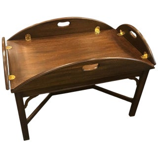 20th Century Early American Classic Mahogany and Brass Butlers Table For Sale