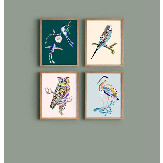 Contemporary Contemporary Owl Giclée Print in Blue For Sale - Image 3 of 3
