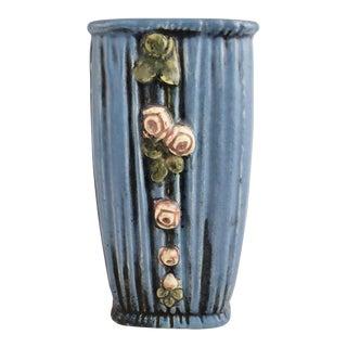 Vintage Weller Art and Crafts Blue Drapery & Rosettes Vase For Sale