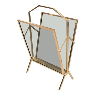 Vintage Smoked Glass Brass Magazine Rack For Sale