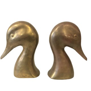 1960s Vintage Mid Century Brass Duck Head Bookends - a Pair For Sale