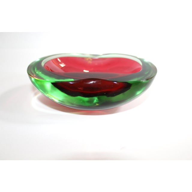 1960s Murano Glass Red and Green Sommerso Ashtray & Bowl, 1960's For Sale - Image 5 of 13