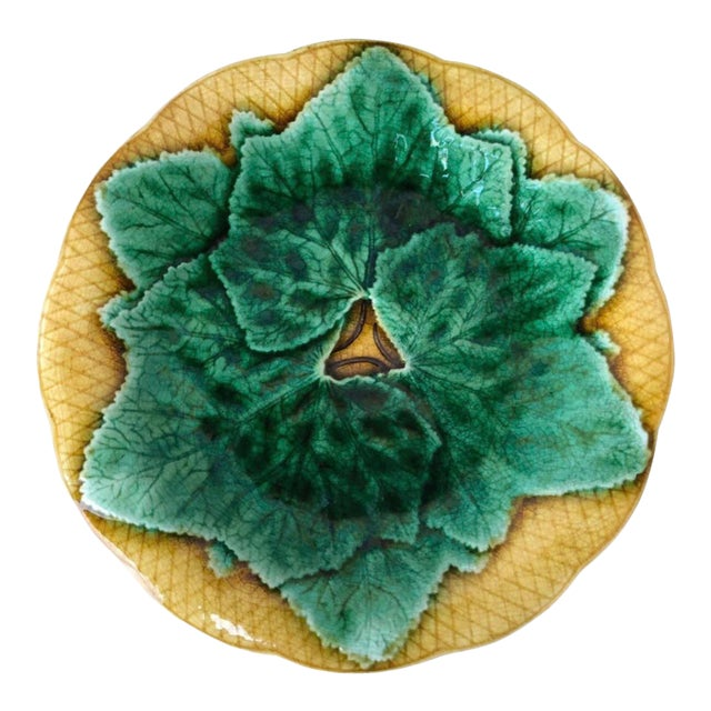 French Majolica Leaves Plate Gien, Circa 1880 For Sale