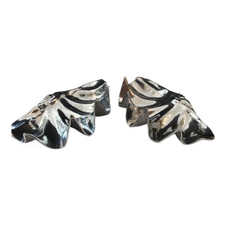Large Scale Polished Aluminium Clam Shells by Wilton, Signed, A-Pair For Sale