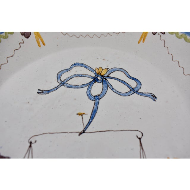 Late 18th Century 18th C. Nevers French Revolution Tin-Glazed Dish, L'équité For Sale - Image 5 of 8