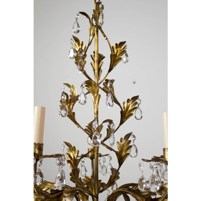 Crystal Italian Five Light Gold Leaf and Crystals Chandelier For Sale - Image 7 of 9
