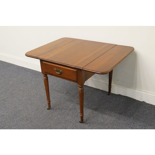 20th Century Tradiitonal Statton TruType Americana Solid Cherry Drop Leaf Pembroke End Table For Sale - Image 10 of 13