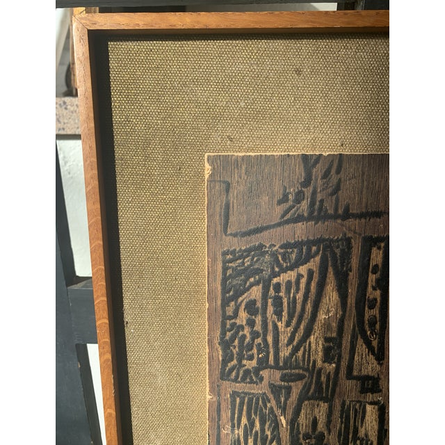 Contemporary Mid 20th Century Modernist Woodcut on Linen, Framed For Sale - Image 3 of 6