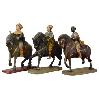 Three Wise Men 18th Century Carved Figures For Sale