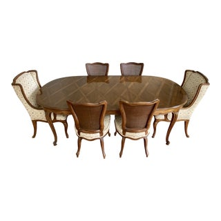 John Widdicomb French Louis XV Style Walnut Dining Set-Set of 7 For Sale