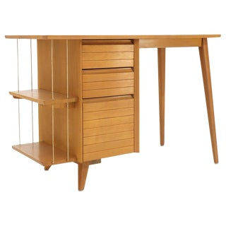 Light Birch Single Pedestal Petit Desk with Bookcase and Three Drawers For Sale