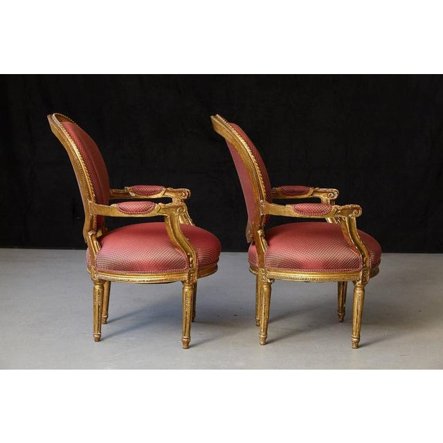 Pair of French Louis XVI Style Gilded Fauteuils For Sale - Image 4 of 10