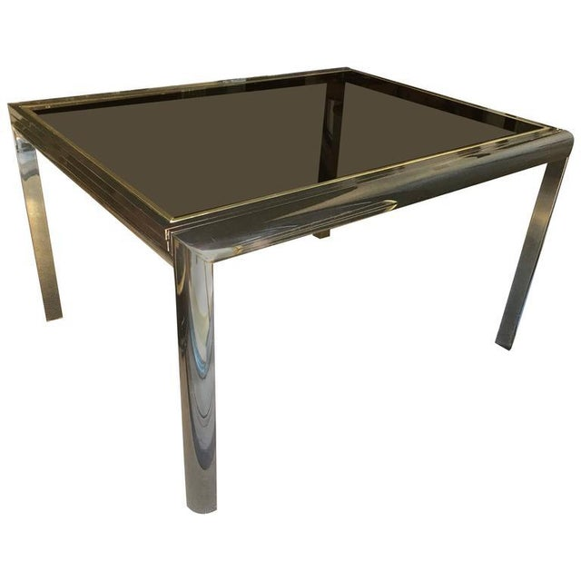 Mid-Century Modern Mid-Century Design Institute of America Glass & Bronzed Modern Dining Table For Sale - Image 3 of 7