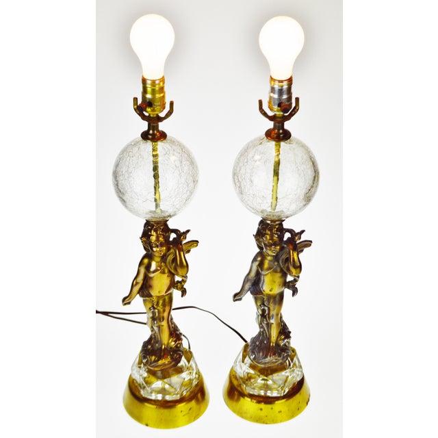 Vintage hollywood regency cherub crackle glass table lamps a pair vintage hollywood regency cherub crackle glass table lamps a pair image 3 of 12 aloadofball Images