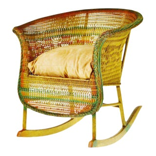 Early Child's Wicker Rocking Chair For Sale