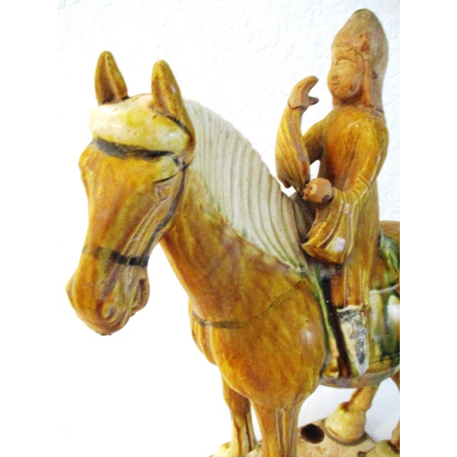 Vintage Large Pottery Tang Design Stallion Figurine For Sale In West Palm - Image 6 of 9