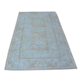 1960s Vintage Turkish Oushak Rug - 3′11″ × 6′7″ For Sale