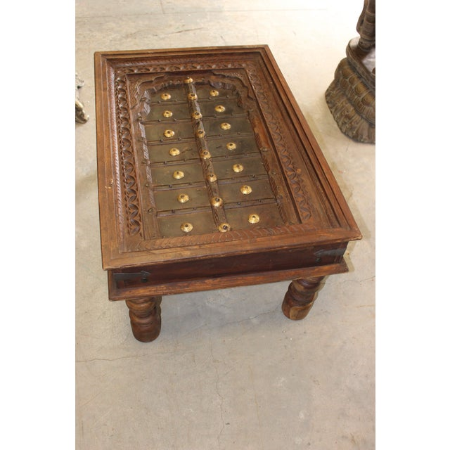 1920s Antique Indian Hand Carved Brass Medallions Farmhouse Chai Coffee Table For Image 5