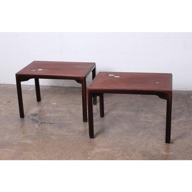 Pair of Edward Wormley for Dunbar Tables with Natzler Tiles - Image 3 of 10