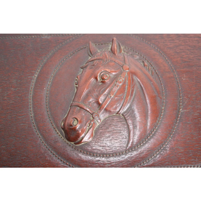 Syroco Midcentury Wood Box with Horse Head Detail - Image 3 of 7