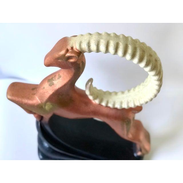 Metal Mid-Century Modern Ceramic Ibex Figurine by Royal Haegar For Sale - Image 7 of 13