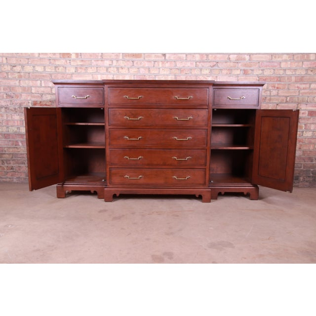 Metal French Provincial Solid Mahogany Marble Top Sideboard Credenza Attributed to Grange For Sale - Image 7 of 13