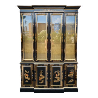 1980s Ethan Allen Black Lacquer Chinoiserie China Cabinet Breakfront For Sale