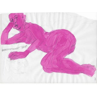 Lying Female Nude in Pink - 1950s For Sale