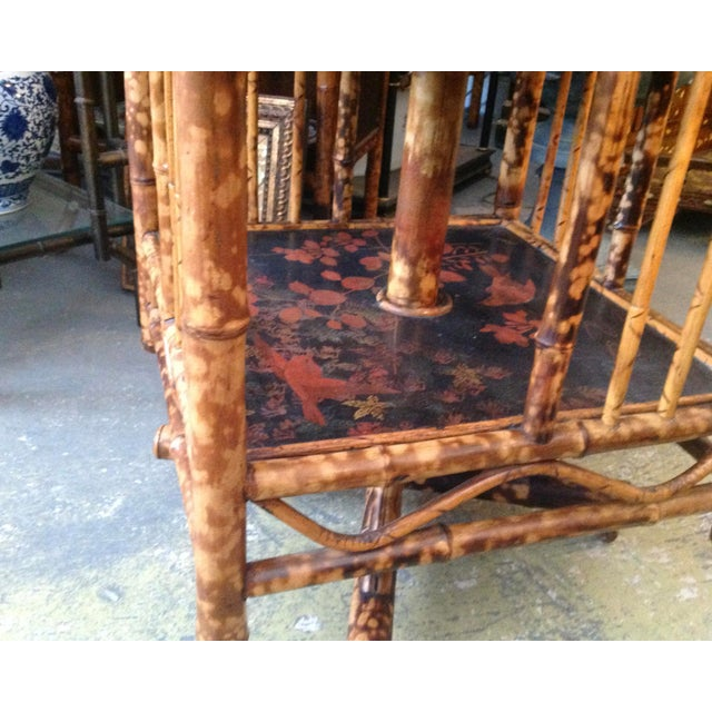 Black Chinoiserie Bamboo Revolving Bookcase For Sale - Image 8 of 13