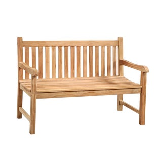 Outdoor Slatted Teak Bench For Sale