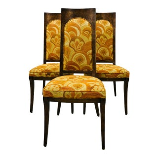1960s Mid-Century Modern Mastercraft High Back Burled Wood Dining Chairs - Set of 4 For Sale