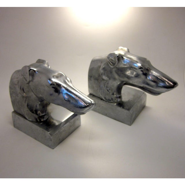Vintage Nuart Style Art Deco Machine Age Chrome Double Greyhound Whippet Borzoi Wolfhound Dog Bookends - a Pair For Sale - Image 10 of 10
