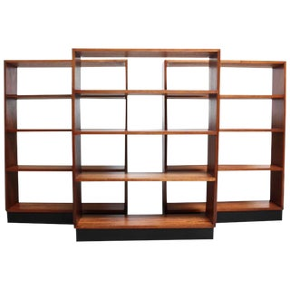 1950s Mid-Century Custom Ebonized Plinth Base Mahogany Book Shelf For Sale