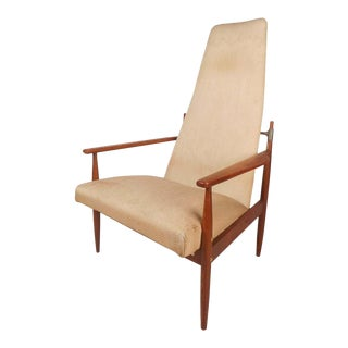 Danish Jens Quistgaard Style Peter Hvidt High Back Lounge Chair For Sale