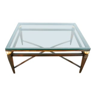 Glass Top Bronze Metal Coffee Table For Sale