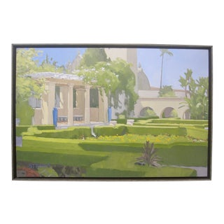 Modern California Masterpiece Mission Architecture Garden Oil Painting by Paul Strahm For Sale