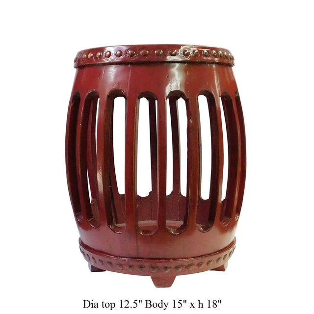 Chinese Red Round Barrel Wood Stools - Pair - Image 7 of 7