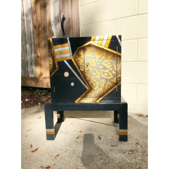 Art Deco Vintage Hand-Painted Black and Gold Cabinet For Sale - Image 3 of 9