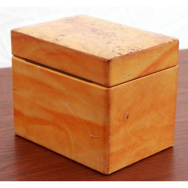 Vintage Leather & Burlwood Trinket Box For Sale - Image 4 of 7