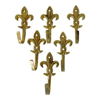 Fleur De Lis Brass Hooks, Set of 6 For Sale