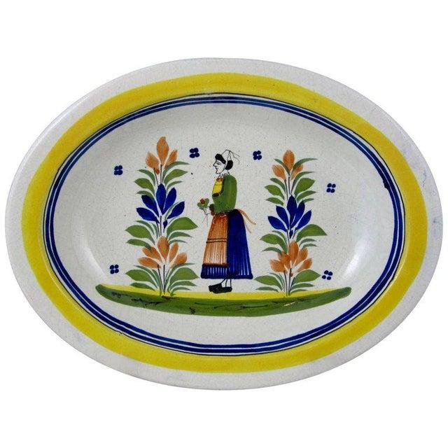 HenRiot Quimper Oval Faience Bowl, Femme de la Campagne Breton For Sale - Image 9 of 9