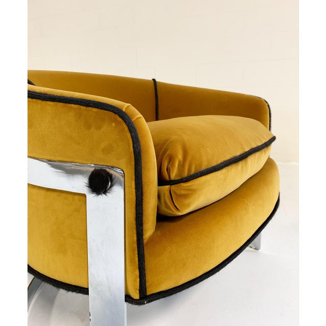 Gold Mid Century Vintage Milo Baughman Velvet With Brazilian Cowhide Welting Lounge Chairs - a Pair For Sale - Image 8 of 13