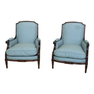 Pair Louis XV French Style Bergere Chairs For Sale