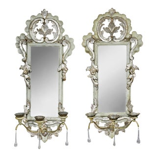 Italian Rococo Gray Painted and Silver Gilt Girandole Mirrors - a Pair For Sale